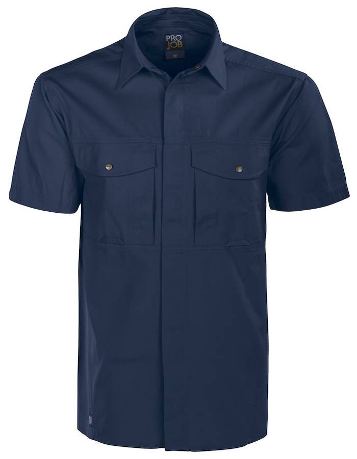 uk availability 8b03f 0b197 ProJob Hemd kurzarm (100% Baumwolle) dunkelblau